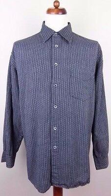 Vtg Retro 90s Monochrome Stripe Pattern Long Sleeve Cotton Shirt -XL- BK08