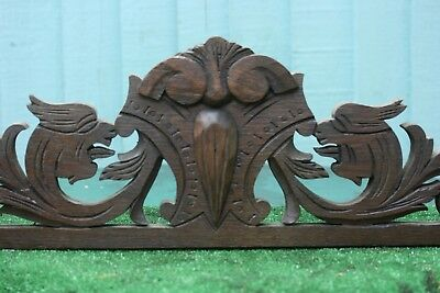 SUPERB 19thC GOTHIC WOODEN OAK PEDIMENT WITH GARGOYLE & OTHER CARVINGS c1880s