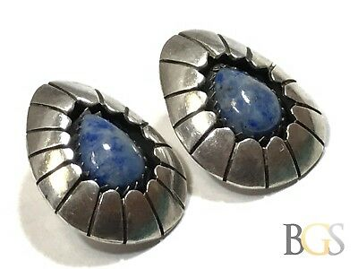 Vintage Ladies Native American Sterling Silver Blue Lapis Earrings - Signed CP