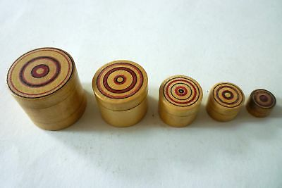 Antique Miniature Mauchline Roundel Box Of Boxes 5 Boxes Fitting Into Each Other