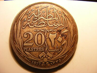 Egypt Large Silver 20 Piastres, 1917, VF