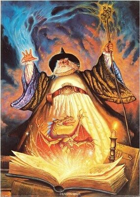 DRAGON SPELL  25x36 FANTASY ART POSTER Wizard NEW/ROLLED!