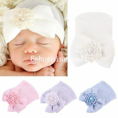 Newborn Baby Girls Infant Cotton Hat with Knitted Flower Bow Cap Beanie Hospital
