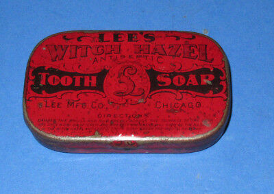 Rare--Vintage Lee's Witch Hazel Antiseptic Tooth Soap Advertising Tin, Chicago