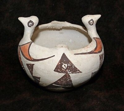 "Cute Antique Acoma Polychrome Double-Head Chicken Jar 4 1/4""d Missing Handle"