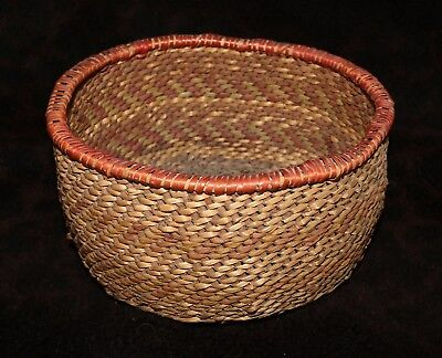 """Hualapai or Walapai Polychrome Twined Indian Basket Bowl 7 1/4""""d x 4""""h"""