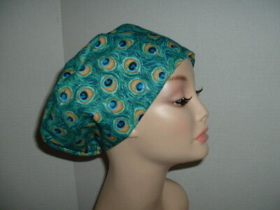 Peacock feathers Teal Indigo Gold OR Surgical European Scrub Hat CNOR CRNA CORT