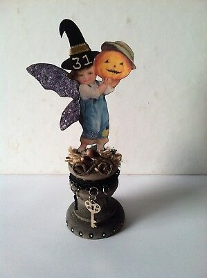 Altered art mixed media fairy block HALLOWEEN 31 pumpkin OOAK  original collage