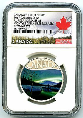 2017 $10 Canada 150Th Silver Proof Ngc Pf70 Aurora Borealis First Releases