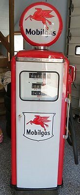 OLD Mobil Gas Pump with Signs