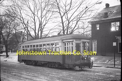 Johnstown Traction Company Original B&w Trolley Negative Of Car 230 In 1950