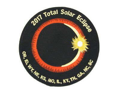 "2017 Total Solar Eclipse 12 State Totality Sun Moon Space Commemorative 4"" Patch"
