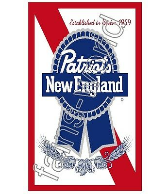 NEW ENGLAND PATRIOTS PABST BLUE RIBBON  FLAG BANNER POSTER SIGN pbr 5' X 3'