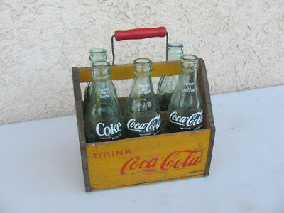 Coca-Cola C 1941 6 Bottle Wood Carrier With Handle WWII Wings