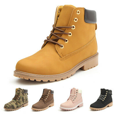 Women Ladies Hiking Boots Womens Flat Ankle Desert Combat Chelsea Walking Shoes