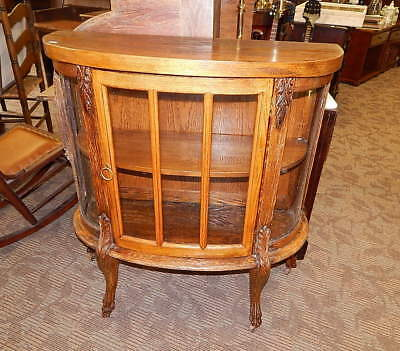 small antique oak bow front claw foot curio china cabinet Victorian chippendale
