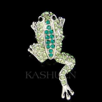 Emerald Green FROG made with Swarovski Crystal Toad Tropical Cute Animal Brooch