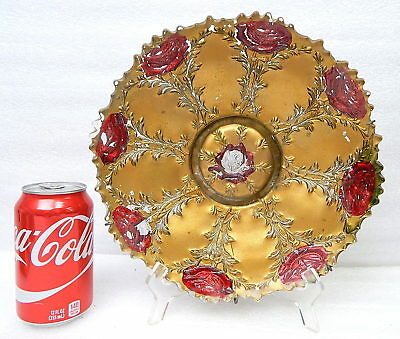 """Antique Gold Rose Goofus Glass Charger Plate 10"""""""