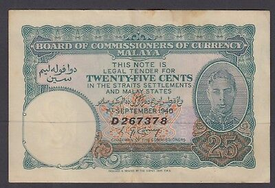 Malaya : 1940 ,KGVI 25 Cent - gVF  and in Fresh original condition