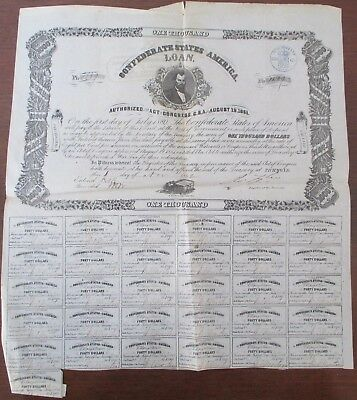 Confederate States of America 1000 Dollar Bond 1862 Civil War USA