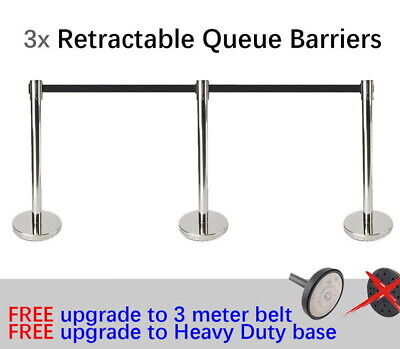3x 3m Retractable Queue Crowd Barriers Crowd Control (Silver Pole & Red Belt)