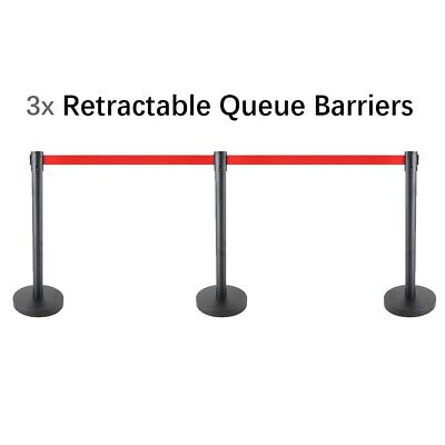 3x 3m Retractable Queue Crowd Barriers Crowd Control (Black Pole & Red Belt)