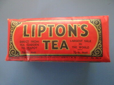 Vintage Full Unopened Half Pound Packet Of Lipton's Tea Very Early