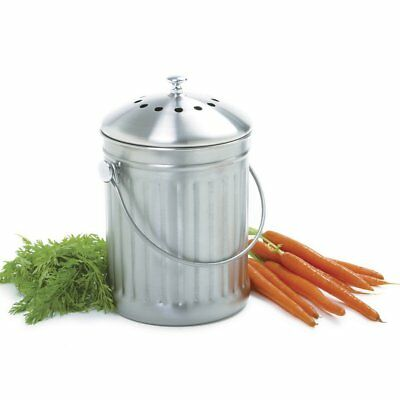 Norpro 1 Gallon Stainless Steel Kitchen Compost Keeper w/ Odor Prevention Lid 94