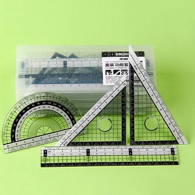 Math Rulers Set Drawing Geometry School Work Protractor Square Angle Measuring
