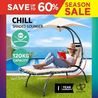 Outdoor Sun Lounge Chair Canopy Steel Garden Deck Patio Hanging Chaise Bed Beige