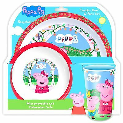 Peppa Pig Dinnerware Kids Set Includes Bowl, Plate & Tumbler Official Free P+P