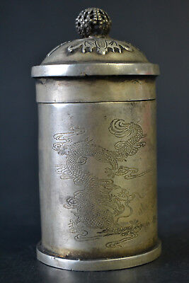 Nice Vintage Tibet Silver Hand Carved Dragon Phoenix Pattern Decor Box