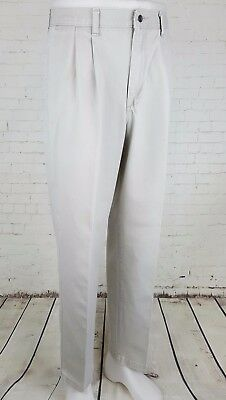 Vtg Mens Light Khaki Pleated Tapered Preppy Cotton Chino LEE Trousers W33 EH42