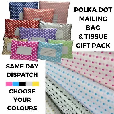 Polka Dot Tissue Paper & Mailing Bag Mix Pack - Polythene Post Gift Wrapping Kit