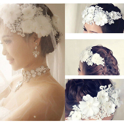 Wedding Bride Lace Pearl Headwear Bridal Flower Hair Clip White Accessories US