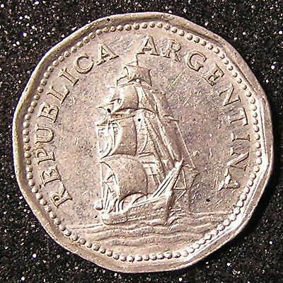1-Coin from Argentina.  5-Pesos.  1961.Saleing  ship