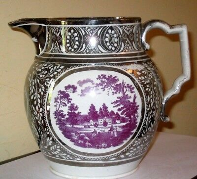 Early 19thc Silver lustre jug with landscape reserve decoration A/F