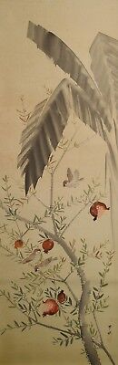 #8369 Japanese Hanging Scroll: Sparrow on Pomegranate Tree