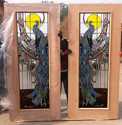 Stained Glass Peacock Doors - Custom Stained Glass - Peacock Doors - Csgmpd