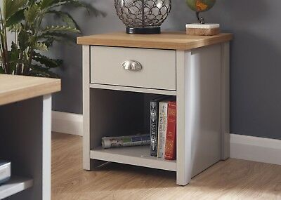 Grey and Oak 1 Drawer Lamp Table with shelf Side End Table Lancaster Range