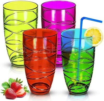 4 x COLOURED SWIRL PLASTIC ACRYLIC TUMBLERS GLASSES HI BALL GLASS PARTY PICNIC