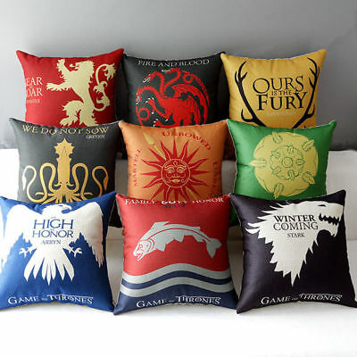 "Game Of Thrones Cushion Covers 17"" House Family Jon Snow Stark Lannister Winter"