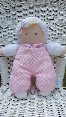 Eden Pink White My First Baby Girl Doll Terry Waffle Weave Plush Lovey