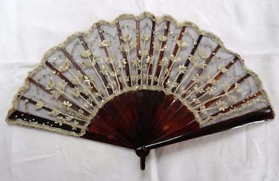 Antique Victorian Faux Tortoiseshell, Sequin & Tambour Lace Fan - c1890