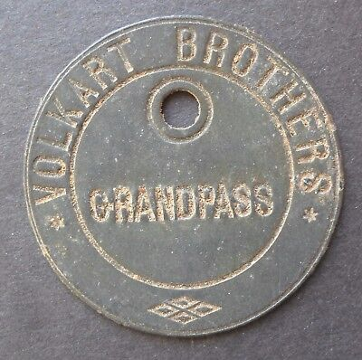 Ceylon Token Grand Pass Volkart Brothers  (1872)  Zinc (Swiss)