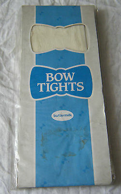 """Vintage Bow Tights Buttermilk, One Size Upto 42"""", Unused In Packet"""