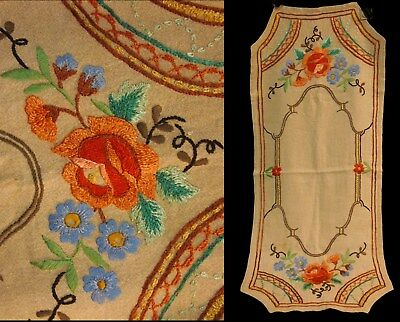 Vintage Arts/Crafts Mission Era Oatmeal Linen Roses Embroidery Table Cloth Scarf