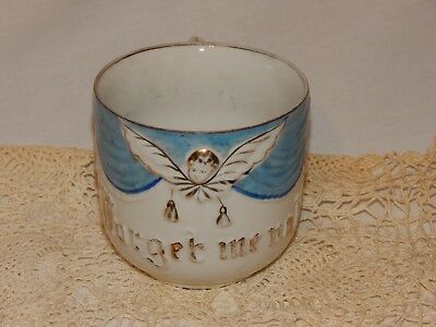 VICTORIAN Antique SENTIMENT Porcelain FORGET ME NOT MUG Cup Blue Gold ANGEL VGC