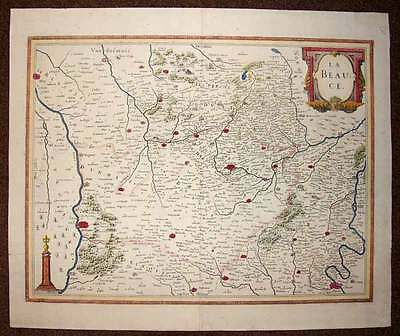 map geographic antique original REGION OF THE BEAUCE par Jansson 1640