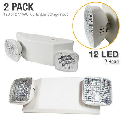 2 x New 12 LED Ultra Bright Emergency Exit Light - Standard Square Head UL924
